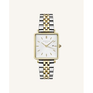ROSEFIELD Dames Horloge The Boxy White Silver Gold Duo 33mm