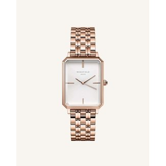 ROSEFIELD Dames Horloge The Octagon White Sunray Steel Rose gold 23*29mm