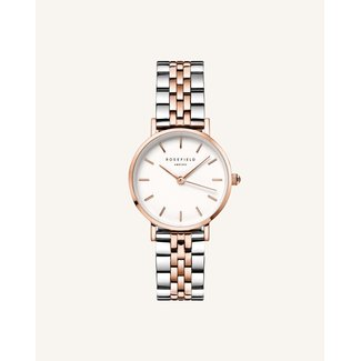 ROSEFIELD Dames Horloge The Small Edit White Steel Silver Rose gold Duo 26mm