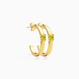 Eline Rosina Hoops Large lime Celia - Gold