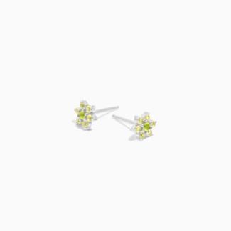 Eline Rosina Lime Flower Earrings - Silver
