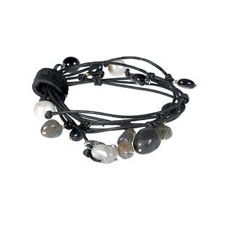 Pimps & Pearls Edelsteen wikkelsieraad zwart grijs Party Wrap Amour