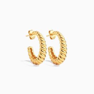 Eline Rosina Croissant Hoops - Gold