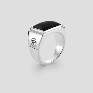 Rebel & Rose Sterling Silver Rings - Ring Square Onyx Lowneck