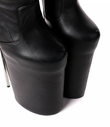 Giaro Black fetish monster knee boots with ultra high silver metal heels