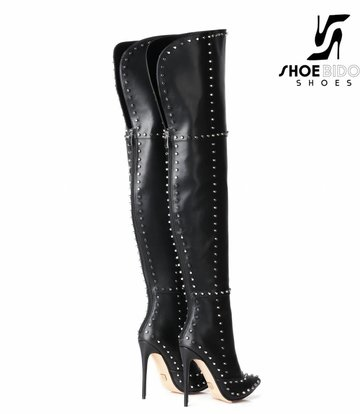 Giaro Black Giaro thigh high boots with high heels and lots of studs