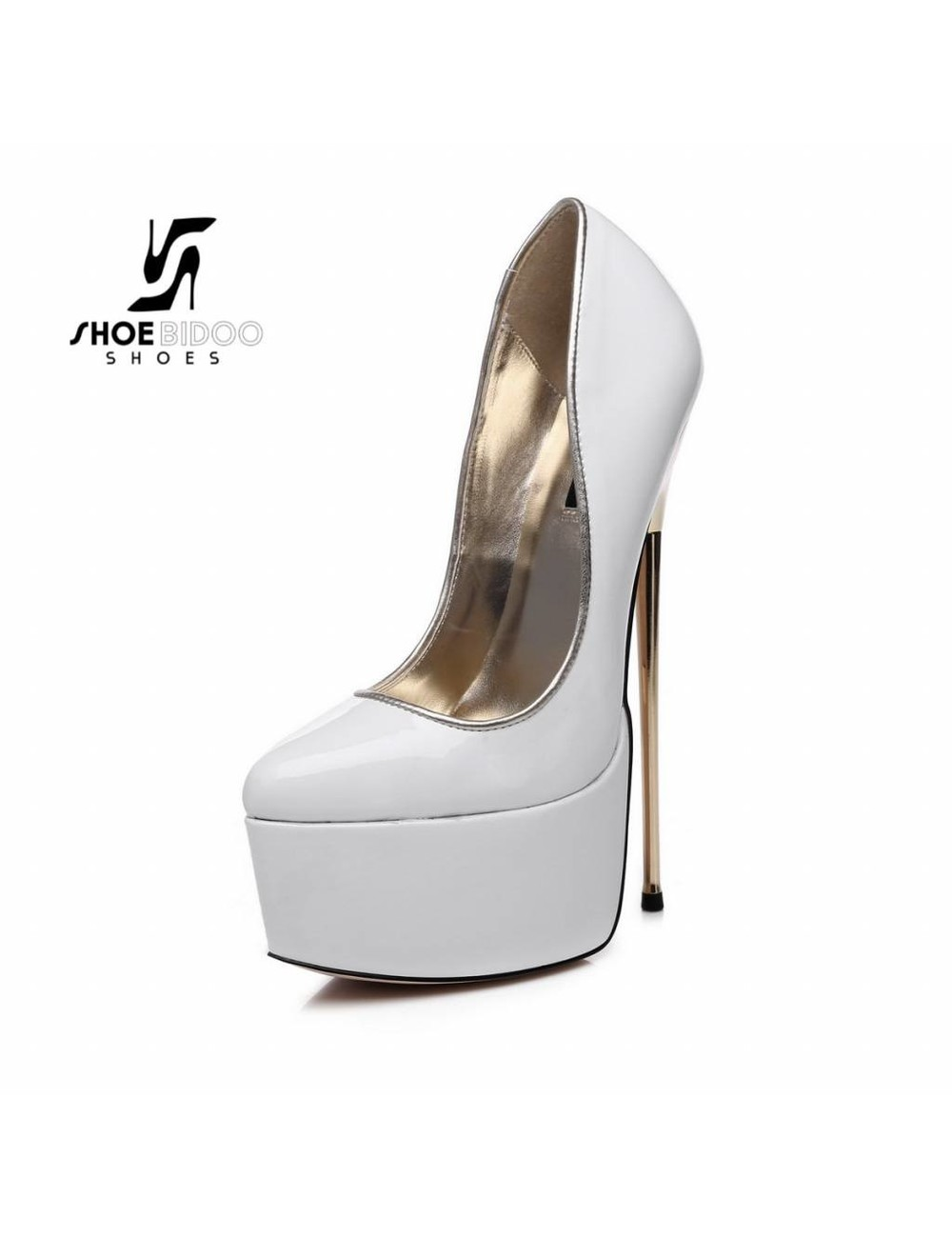 SLICK White lacquer platform pumps with ultra high gold metal heels