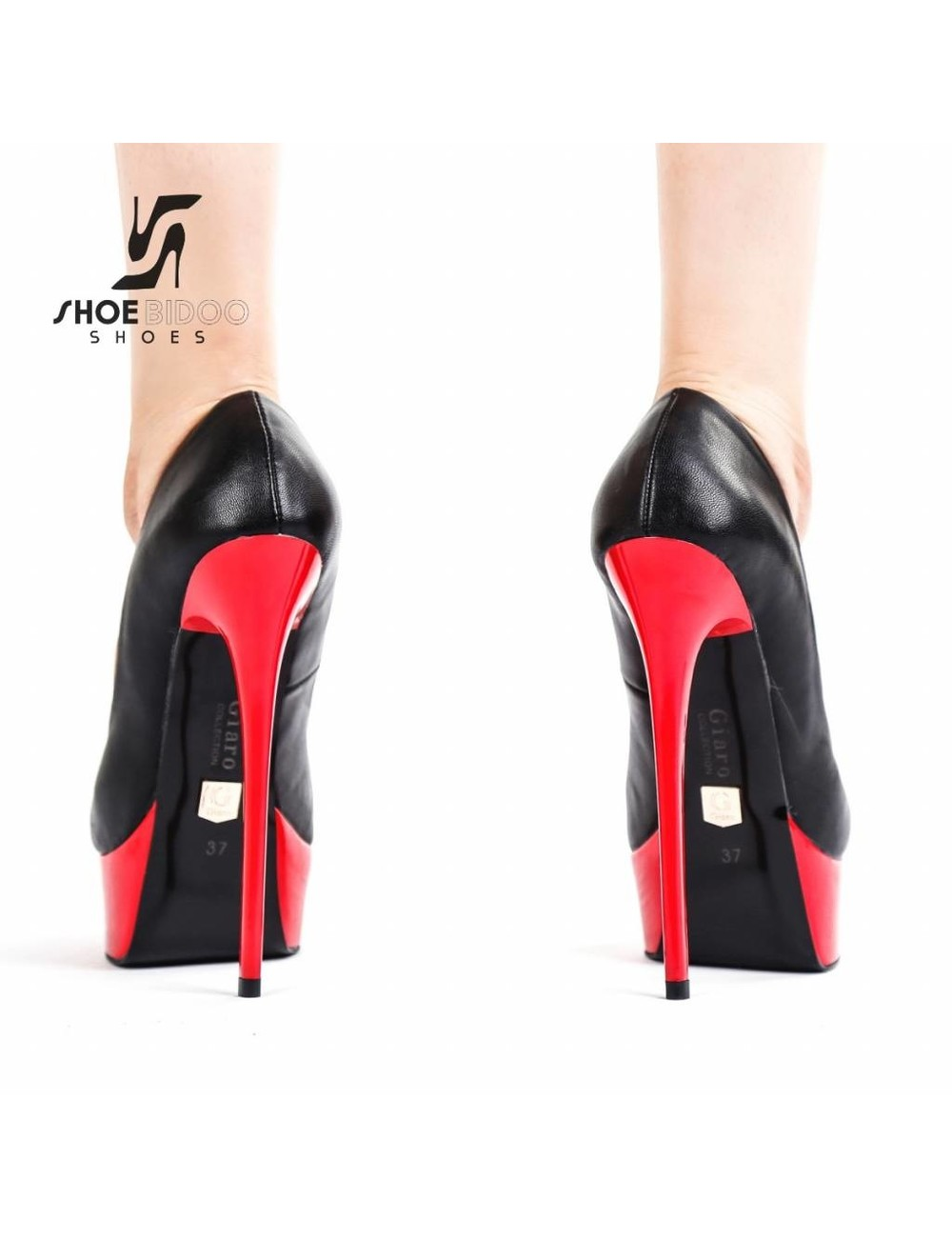 "Giaro Black and Red Giaro ""Galana"" platforms pumps"