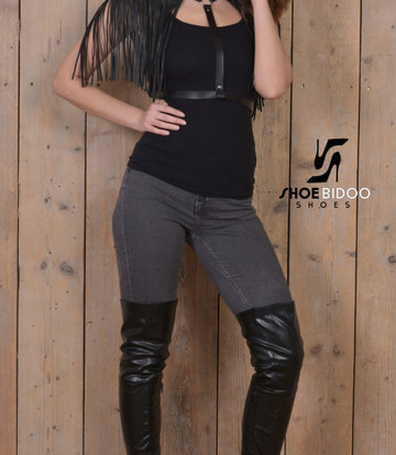 Olga in jeans and thigh high boots