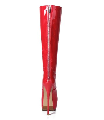 Giaro Giaro Cameron red shiny knee boots - back zipper