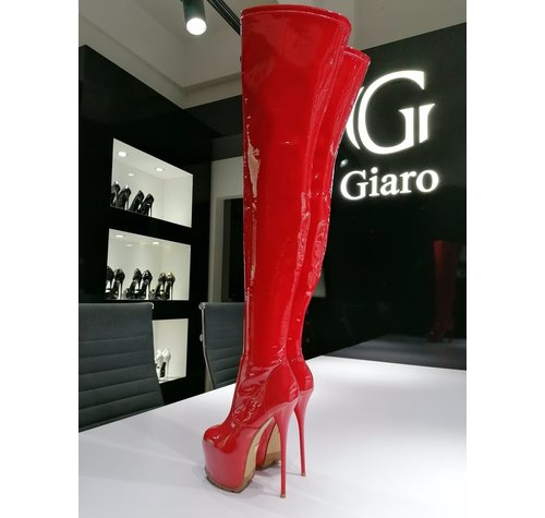 Giaro VIDA | RED SHINY |  PROFILE THIGH BOOTS