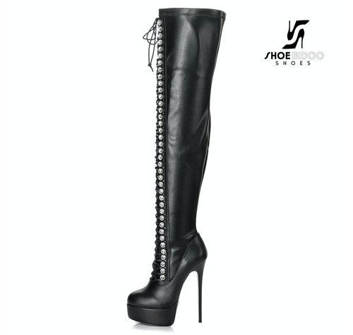 Giaro GALANA DOMINIQUE | BLACK MATTE | LACE UP THIGH BOOTS
