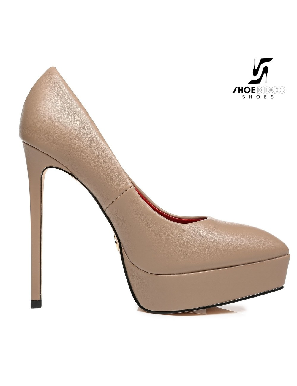 Giaro Giaro Platform pumps SCANT in Taupe with red lining