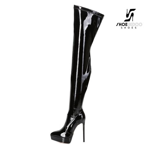 Giaro SPIRE | BLACK SHINY | PLATFORM THIGH BOOT