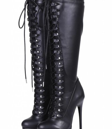 "Giaro Black lace-up ultra ""Galana MAHAUTE"" knee boots  - OUTLET"