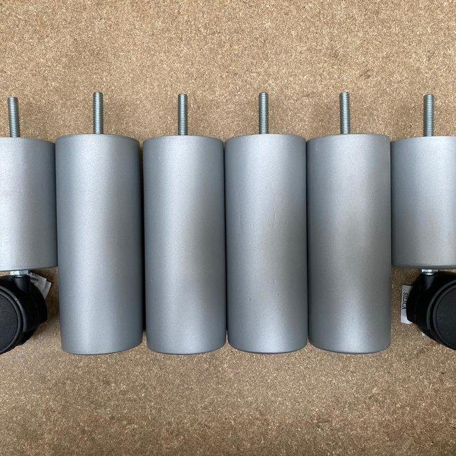 Boxspring poten rond met wiel grijs 15cm