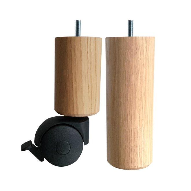 Boxspring poten rond met wiel eiken 15cm