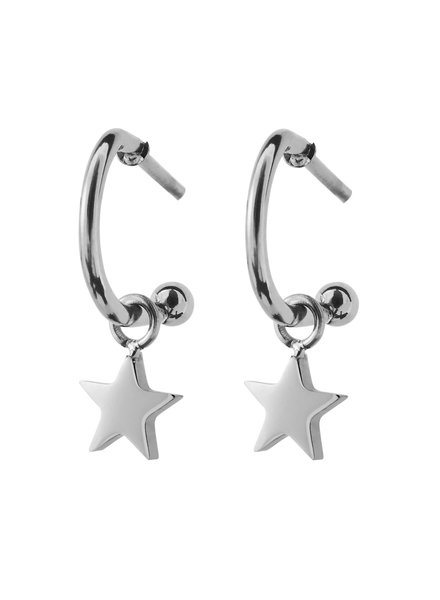 Bright Night Star oorbellen zilver