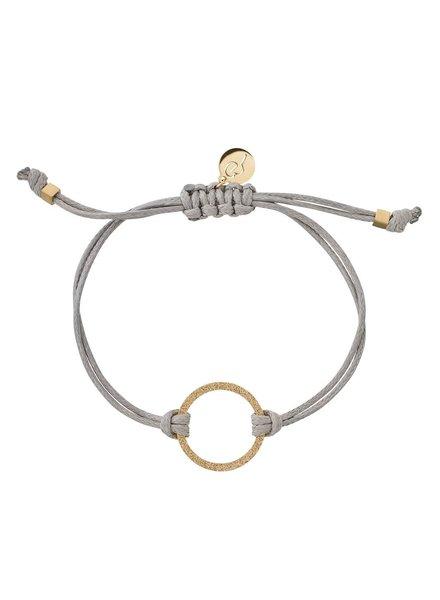 Circle cord armband kleur grijs/goud