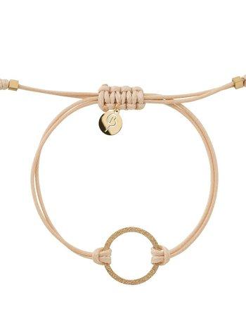 Circle cord armband kleur nature/goud