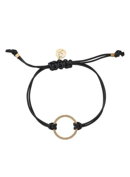 Circle cord armband kleur zwart/goud