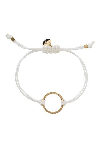 Circle cord armband kleur wit/goud