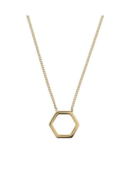 Hexagon ketting goud