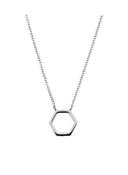Hexagon ketting zilver