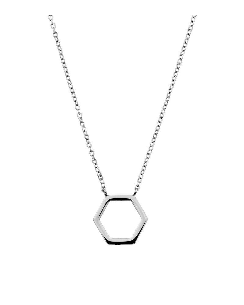 EDBLAD Hexagon ketting   kleur zilver