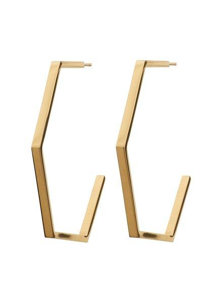 Hexagon oorbellen goud