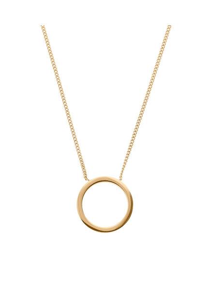 Circle ketting klein mat goud