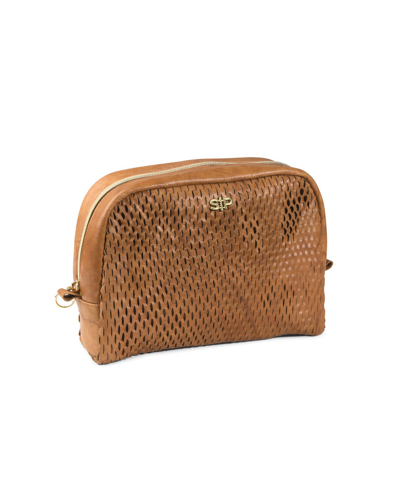 Syster P Syster P Honeycomb toilettas (groot)| cognac