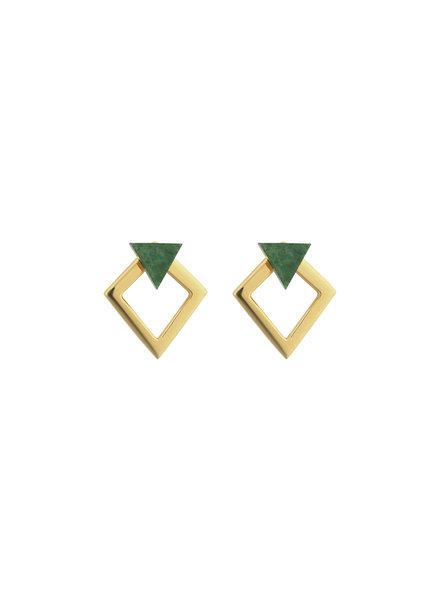 Syster P Angled oorbellen groen/goud