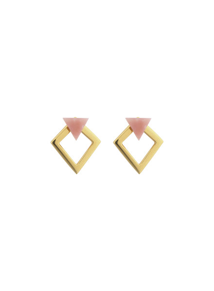 Syster P Angled oorbellen roze/goud
