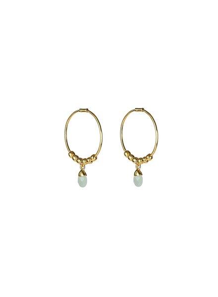 Syster P Mini Teardrop oorbellen | goud/lichtblauw