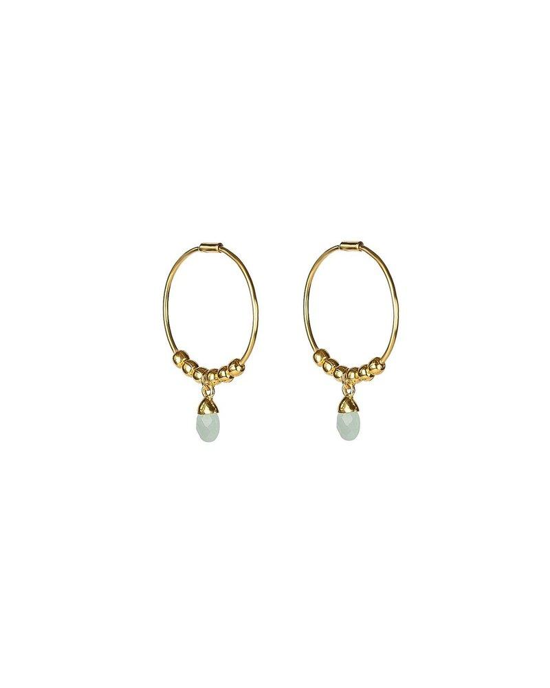 Syster P SysterP Mini Teardrop oorbellen | goud/lichtblauw