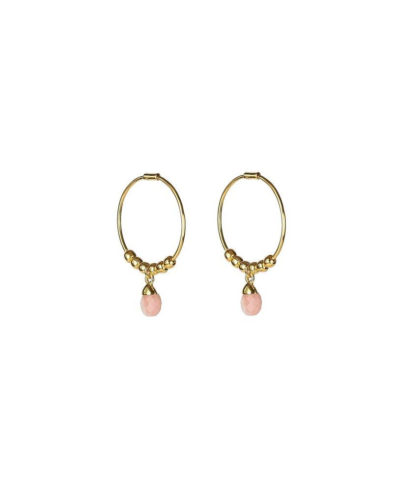 Syster P SysterP Mini Teardrop oorbellen | goud/pinkopal