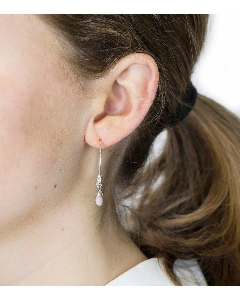 Syster P SysterP Mini Teardrop oorbellen | zilver/roze