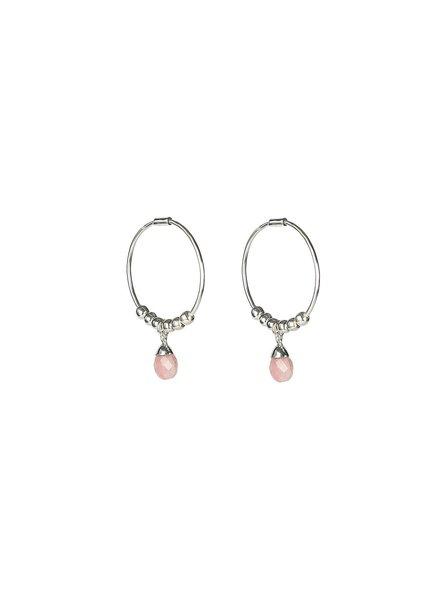Syster P Mini Teardrop oorbellen | zilver/roze