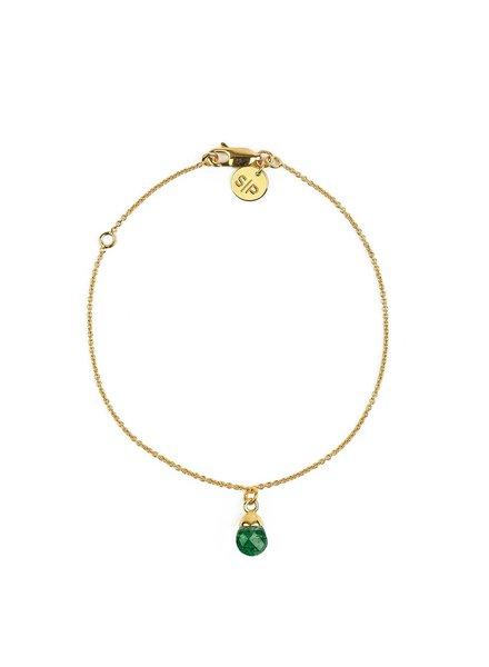Syster P Mini Teardrop armband | goud-groen