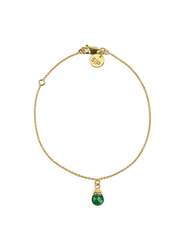 Syster P SysterP Mini Teardrop armband | goud-groen