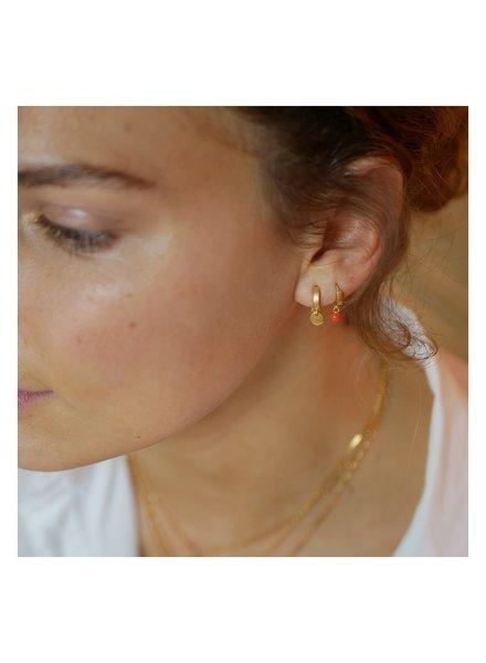 Enamel Dot oorringen clementine | mat goud