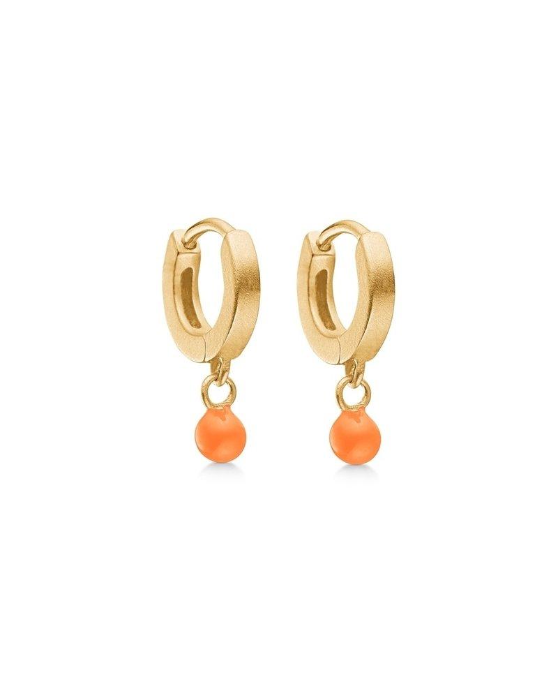 Enamel Enamel Dot oorringen clementine | mat goud