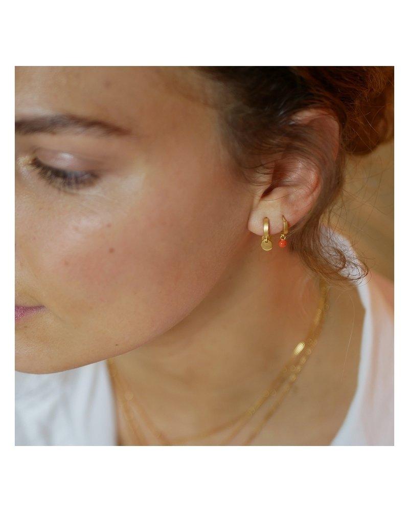 Enamel Enamel Dot oorringen flamingo | mat goud