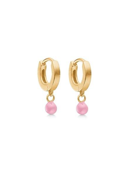 Enamel Dot oorringen flamingo| mat goud