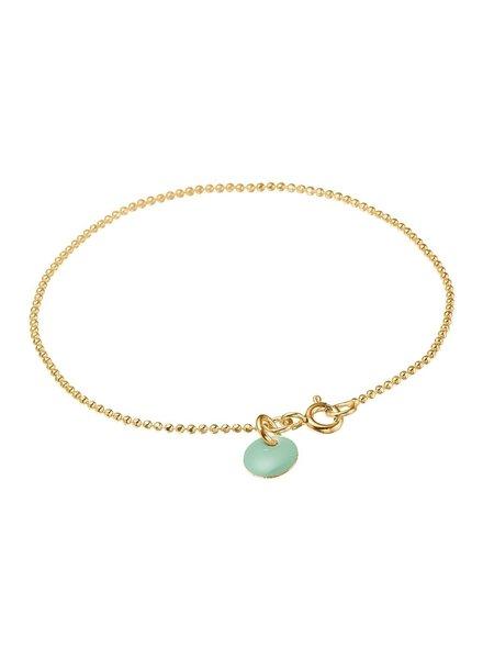 Enamel Ballchain armband kleur groen | goud