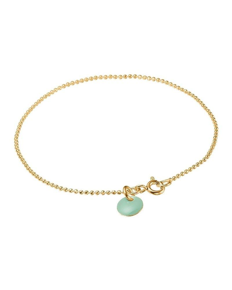 Enamel Enamel Ballchain armband kleur groen   goud