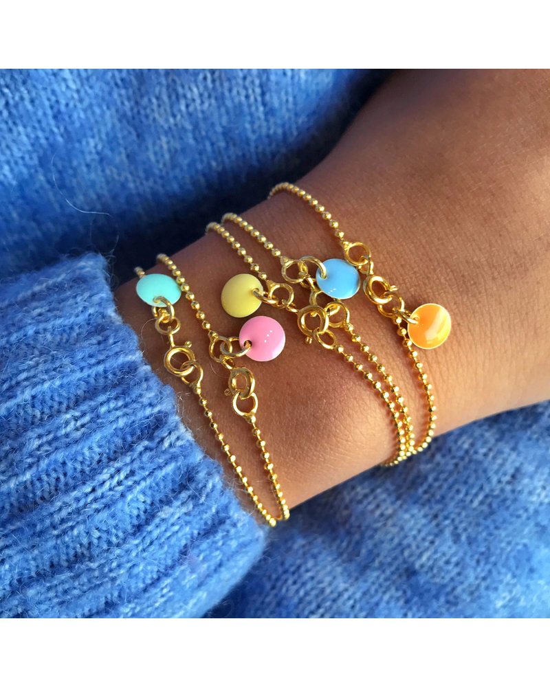 Enamel Enamel Ballchain armband kleur lichtgrijs | goud