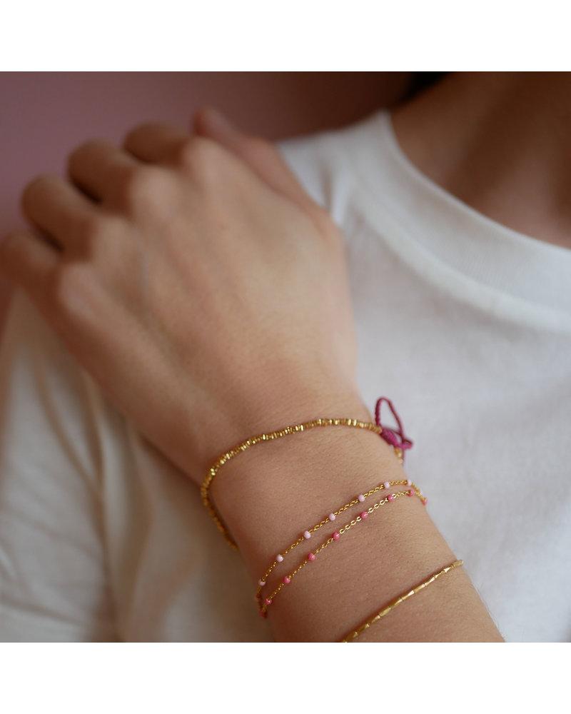 Enamel Enamel Lola armband koraal roze  | goud