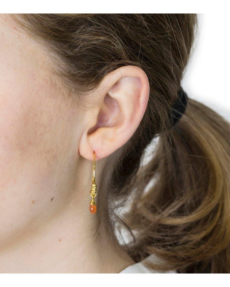 Syster P SysterP Mini Teardrop oorbellen   goud/oranje